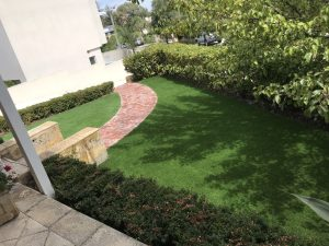 A beautiful yard with fresh cut grass. Landscaping design Perth