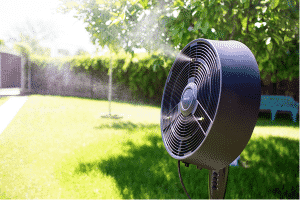 misting fan to keep your alfresco cool in summer